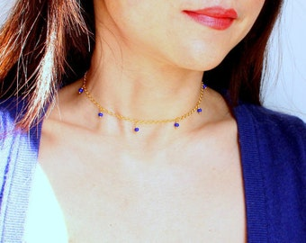 Bella Hadid necklace gold plated chain with blue seeds beads short necklace blue gold choker women fashion jewellery