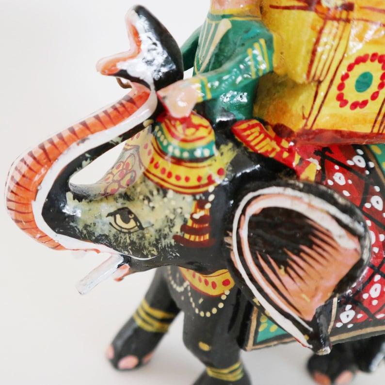 Vintage Indian Ornate Handpainted Elephant Figurine With Rider