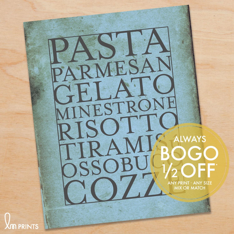 Kitchen Art Print Italian Food Kitchen Decor Kitchen Sign   Etsy
