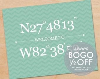 Longitude & Latitude Print, Personalized Art Print, Home Decor, Welcome Home Print, Custom Art, Wedding Gift, Anniversary Gift