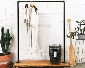 Rustic Industrial Reclaimed Wood Retail  Rolling Garment Rack- Standard Size