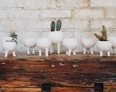 Rustic Tabletop Ceramic Planter with Legs