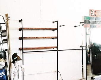 Retail Wall Mount Fixture-Reclaimed Wood Shelf Display w/ Face Outs