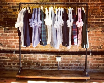 Reclaimed Wood Large Rolling Garment Rack