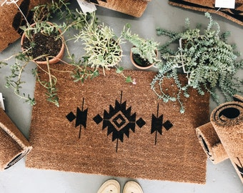 Desert Vibes Natural Hand Painted Door Mat