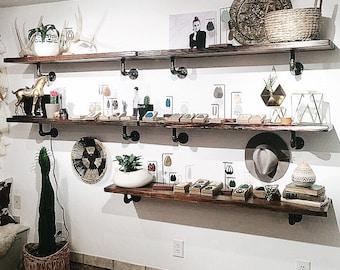 Reclaimed Wood Retail Shelf / Kitchen Wall Mount Shelves/ Floating Shelves