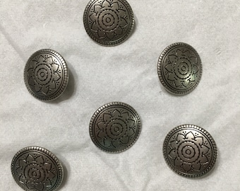 006 set of 6 antique buttons silver color beautiful  design upcycled from Wool sweater knitting supply sewing supply