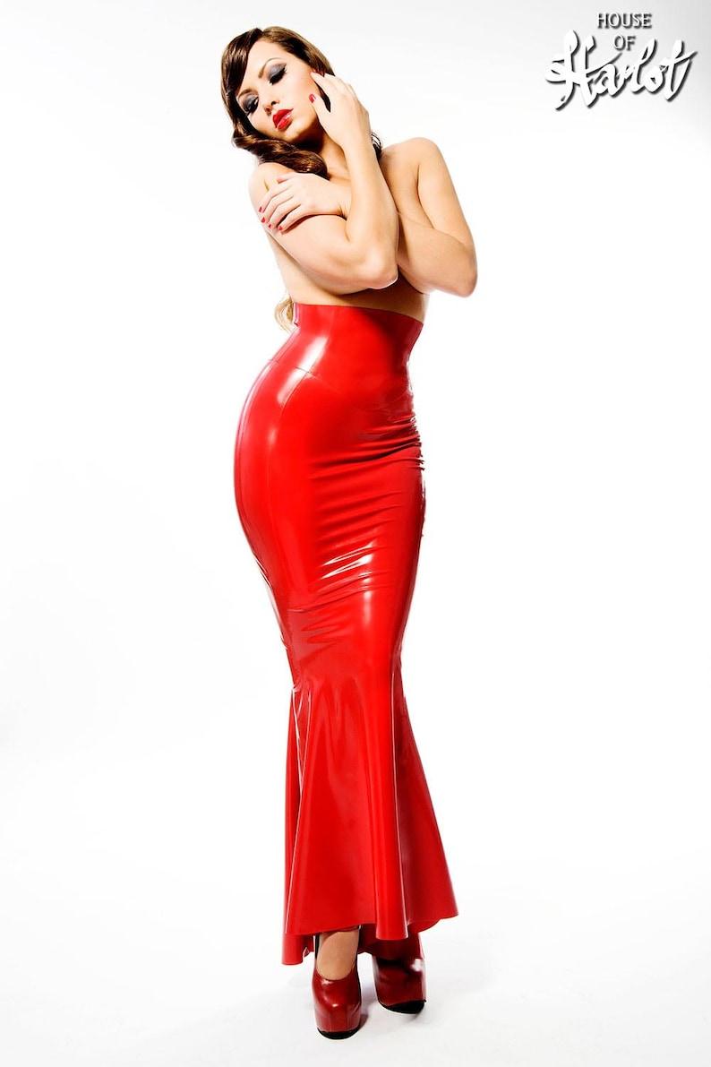 62f62806f9 STELLA Long Line Latex Rubber Fishtail Skirt   Etsy