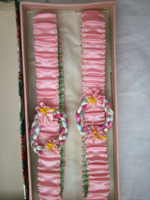 Set of two pastel ribbon work garters silk authent