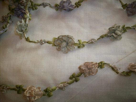 rare silk antique authentic garland ribbon 14