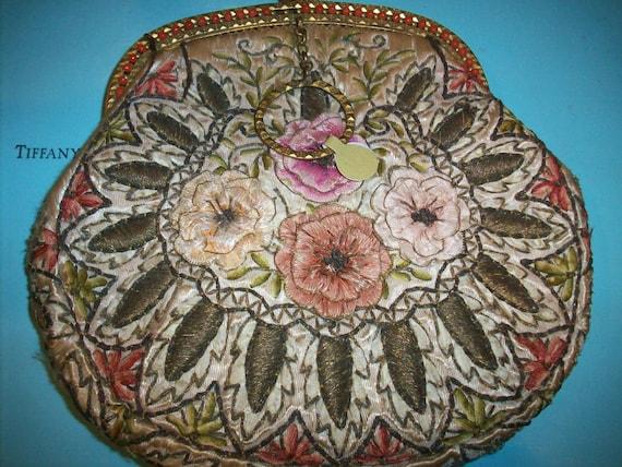 Incredible ribbonwork purse antique