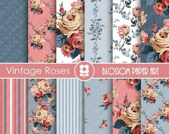 Rose Digital Paper, Pink Blue Floral Digital Paper Pack, Pink Roses, Scrapbooking, Roses, Pink VIntage Roses - INSTANT DOWNLOAD 1706