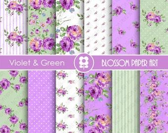 Violet Floral Papers, Rose Digital Paper Pack, Violet Green Digital Scrapbooking, Rose Papers - INSTANT DOWNLOAD  - 1901