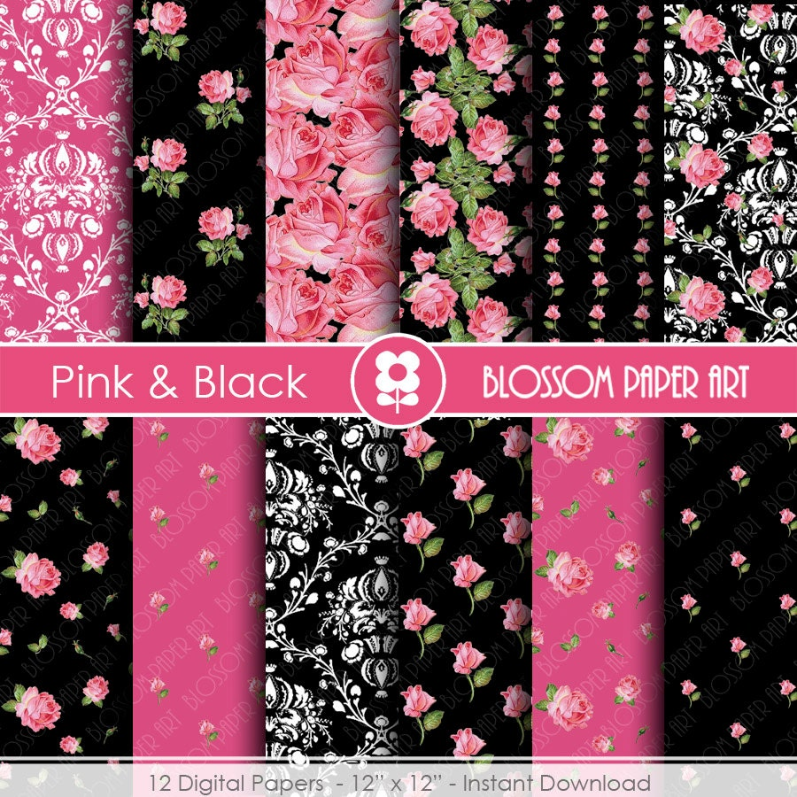 Pink And Black Papers Digital Paper Pack Scrapbooking Floral Etsy