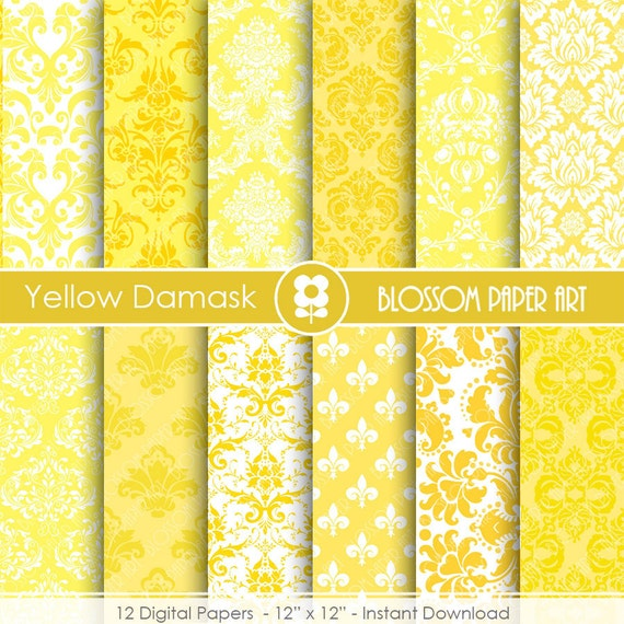 Yellow Digital Paper Yellow Damask Digital Paper Scrapbook Etsy