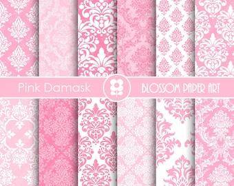 Pink Damask Digital Paper, Pink Digital Paper Pack, Pink Damask, Scrapbooking - INSTANT DOWNLOAD  - 1905