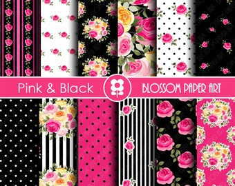 Digital Paper, Black & Hot Pink Digital Paper Scrapbook Paper Pack, Scrapbooking, Roses in Hot Pink and Black - INSTANT DOWNLOAD  - 1771