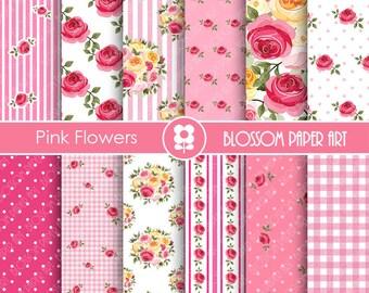 Pink Digital Papers, Pink Scrapbook Paper Pack, Digital Paper, Decoupage, Scrapbooking, Cardmaking - Collage Sheet - 1724