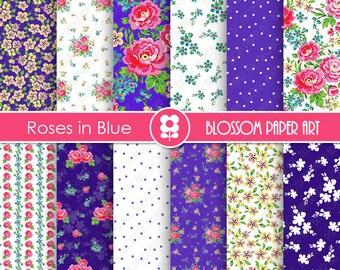 Blue Digital Paper, Blue Digital Paper, Floral Digital Scrapbooking Pack - Blue Floral Papers - INSTANT DOWNLOAD- 1941
