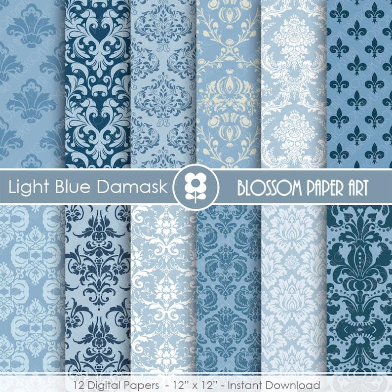 Damask Digital Paper Blue Damask Digital Paper Wedding Scrapbook Paper Pack Scrapbooking Instant Download 1755