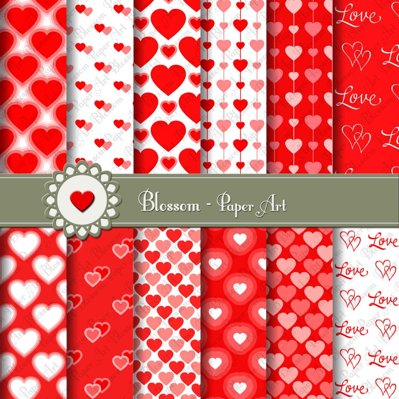 Papeles Decorativos Corazones Rojos Papeles para imprimir | Etsy