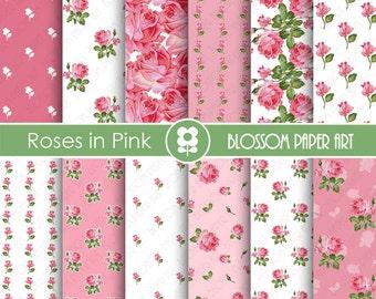 Digital Paper Pink Roses Digital Paper Pack, Scrapbooking, Floral Papers, Pink Papers - Vintage Designs - 1772