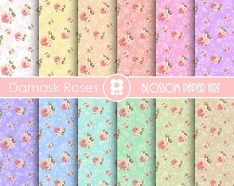 Shabby Chic Digital Paper, Shabby Chic Scrapbook Vintage Roses Papers, Scrapbooking Digital Paper Pack - INSTANT DOWNLOAD  - 1815