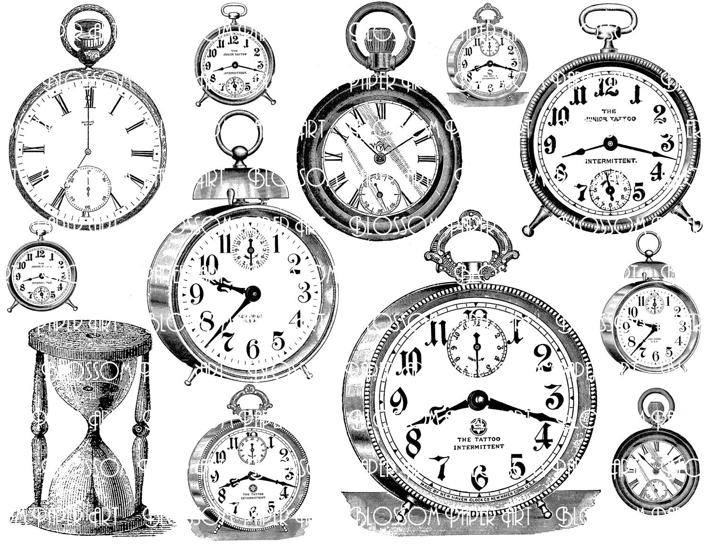 Clocks Collage Sheet Digital Scrapbook Scrapbooking Etsy