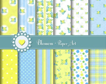 Baby Boy Digital Paper Flowers Digital Paper Pack, Yellow, Baby Floral Digital Scrapbooking Paper Pack - Yellow - Light Blue - 1487