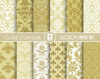 Damask Digital Paper, Gold Digital Paper Wedding Scrapbook Paper Pack, Scrapbooking - INSTANT DOWNLOAD  - 1756