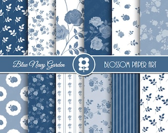 Blue Navy Digital Paper, Blue Floral Digital Paper Pack, Roses Scrapbooking - INSTANT DOWNLOAD - 1987