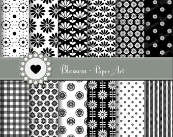 Black Digital Paper Pack, Black and White Digital Paper, Scrapbook, Modern DIgital Papers in Black - 1383