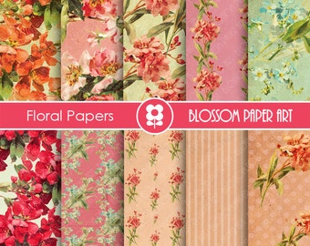 Digital Paper, Pink Red Floral Digital Paper Pack, INSTANT DOWNLOAD - Decoupage - Digital Paper - Printable - 1639