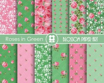 Floral Digital Paper Green Pink Scrapbooking, Digital Papers, Green Papers - Vintage Designs - 1776