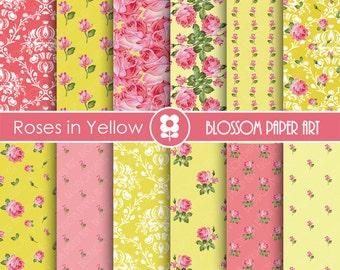 Yellow Digital Paper Floral Scrapbooking, Floral Digital Papers,  Yellow Papers - Vintage Designs - 1777