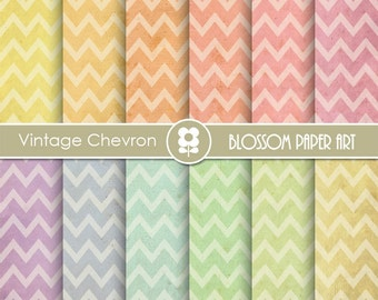Chevron Digital Paper, Old Paper Chevron Digital Paper Pack, Colours, Chevron Scrapbooking Paper, Scrapbook - INSTANT DOWNLOAD - 1965