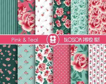 Teal Pink Digital Paper Floral Digital Papers, Scrapbooking Paper Pack, Pink & Teal Floral Papers - INSTANT DOWNLOAD - 1914