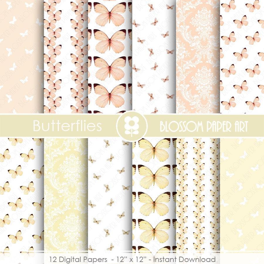 Papel decorativo de mariposas papeles para imprimir etsy for Papel decorativo pared