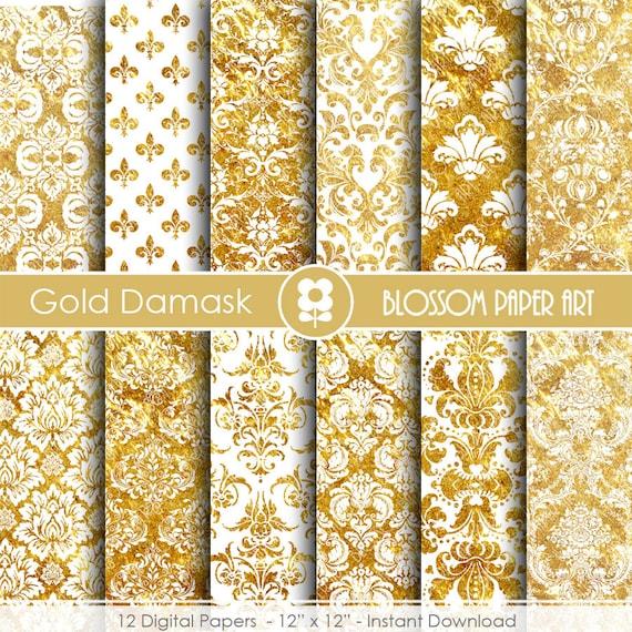 Gold Damask Digital Paper Gold Digital Paper Wedding Etsy