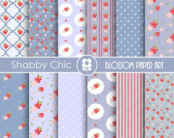 Shabby Chic Digital Paper Blue Floral Digital Scrapbook, Cottage Papers, Floral Digital Paper, Wedding Papers - 1732