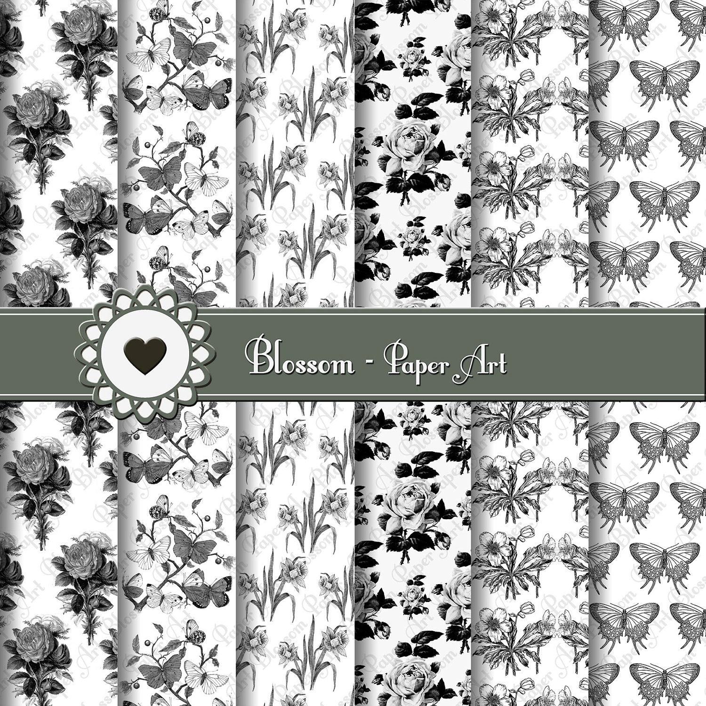Papeles Decorativos Flores Blanco Y Negro Estampados Para Etsy