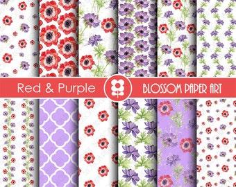 Floral Digital Paper, Red and Purple Flowers Digital Paper Pack, Scrapbooking - INSTANT DOWNLOAD  - 1802