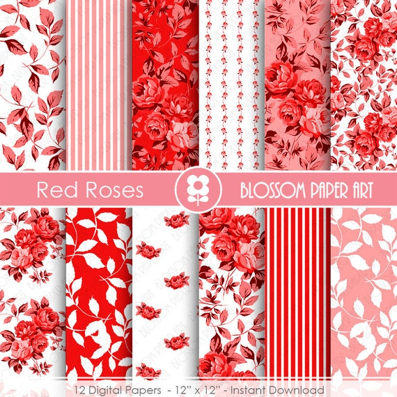 Red Digital Paper Red Floral Paper Pack Red Scrapbook Paper Etsy