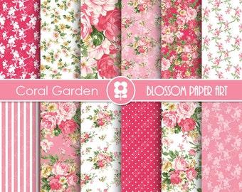Floral Digital Paper, Floral Digital Paper Pack, Pink Roses, Coral Scrapbooking, Roses - INSTANT DOWNLOAD  - 1926