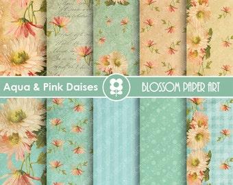 Digital Paper Aqua Floral Digital Paper Pack, Daisies Floral Collage Sheet, Scrapbooking Printables - INSTANT DOWNLOAD - 1642