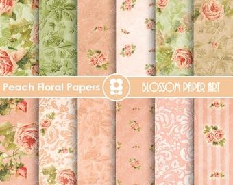 Floral Digital Paper, Peach Digital Paper Pack, Wedding, Scrapbooking, Roses, Pink, Green - INSTANT DOWNLOAD  - 1645