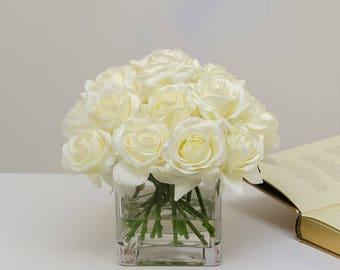 2 Dozens Real Touch White Roses Arrangement Artificial Faux Silk Flowers Square Glass Vase for Home Decor White Arrangement Silk Flowers & Real touch flower arrangement | Etsy