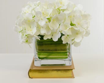 07f78615530b Finest Silk White Hydrangea Arrangement Silk Flowers Artificial Faux in  Square Vase for Interior Design Home Decor Bathroom Bedroom Table