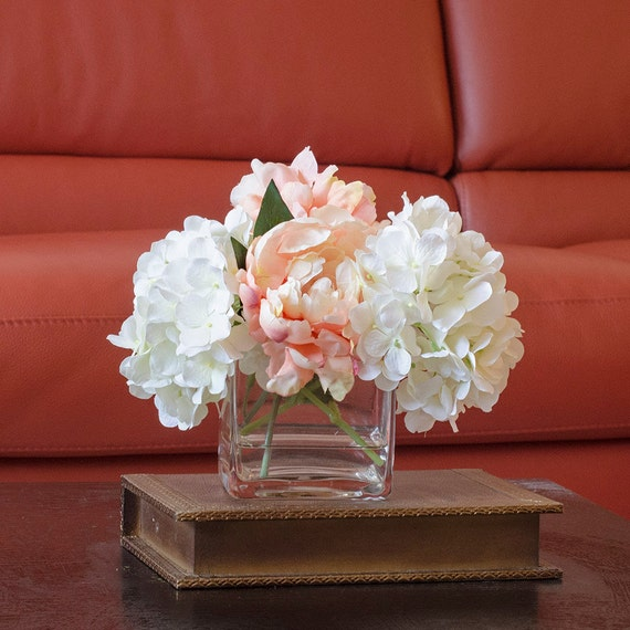 Hydrangea peach peony arrangement silk flowers artificial faux etsy image 0 mightylinksfo