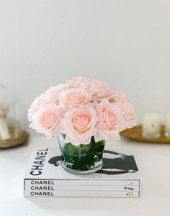 12 Pink Rose Real Touch Arrangement Silk Flower Arrangement Etsy